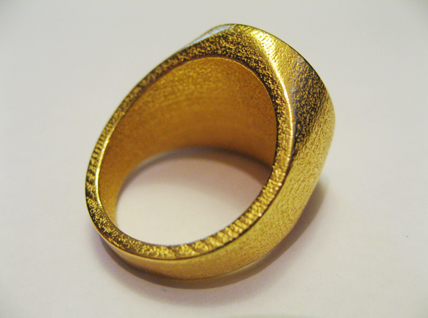 Signet Ring - GC 57 - unique - 3d printed Gold Plated Glossy