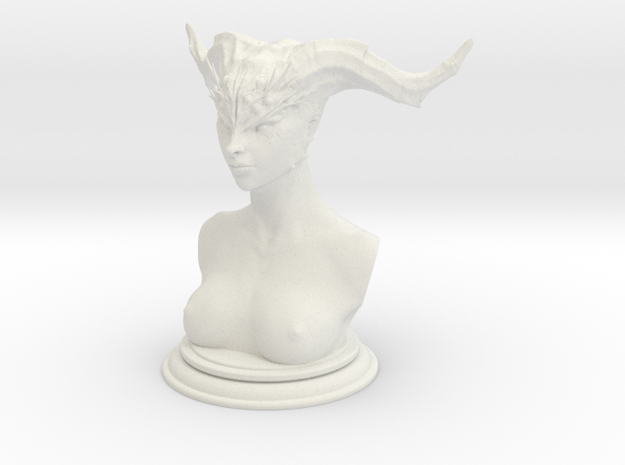 Demon head bust 02 in White Natural Versatile Plastic