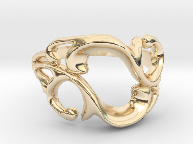 'Like Vines We Intertwine' Ring in 14k Gold Plated Brass