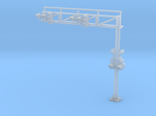 N RR crossing Gantry+traffic Lights in Smooth Fine Detail Plastic