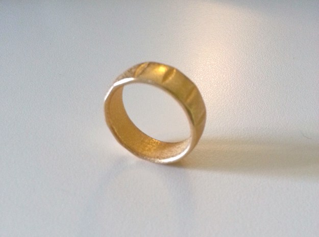 Dennis Ring-Size10 3d printed Printed in Gold Plated Stainless Steel