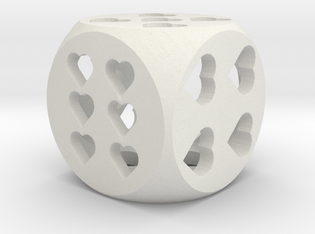 Hearts Dice in White Natural Versatile Plastic