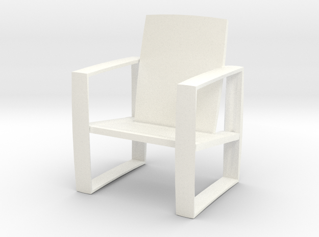 luxury lounge chair in White Strong & Flexible Polished