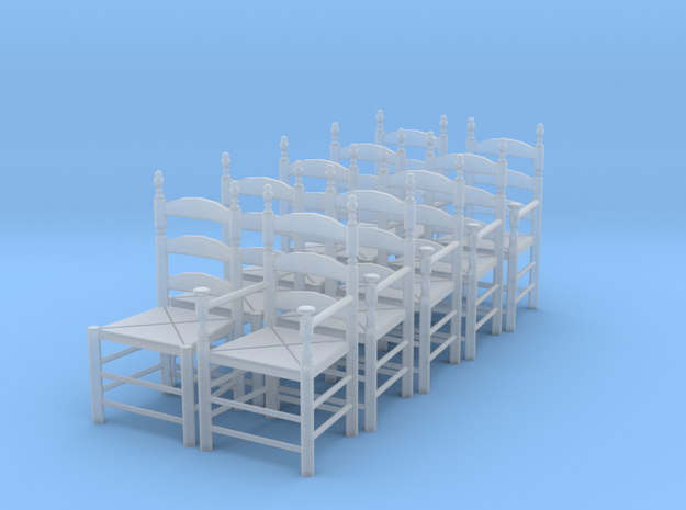 1:43 Pilgrim's Chairs (Set of 10) in Smooth Fine Detail Plastic