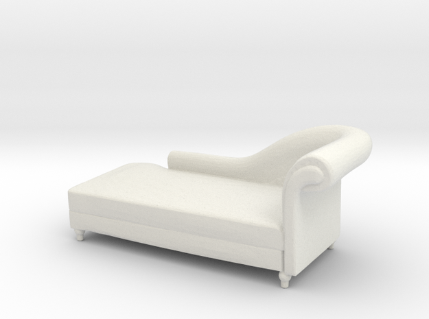 Miniature 1:48 Chaise Lounge in White Strong & Flexible