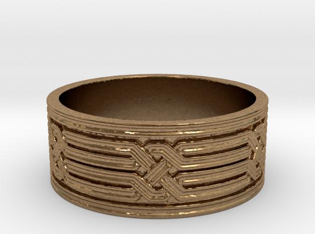 Diamond Geometric Knot Ring in Raw Brass