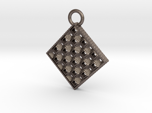 Toothy Grater Key Chain in Polished Bronzed Silver Steel