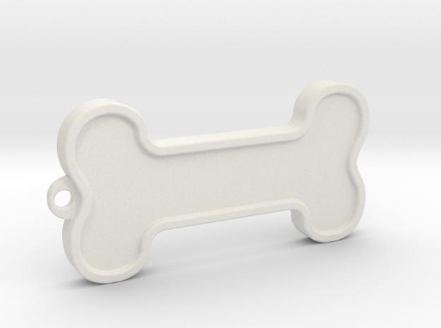 Dog Bone Keychain in White Natural Versatile Plastic