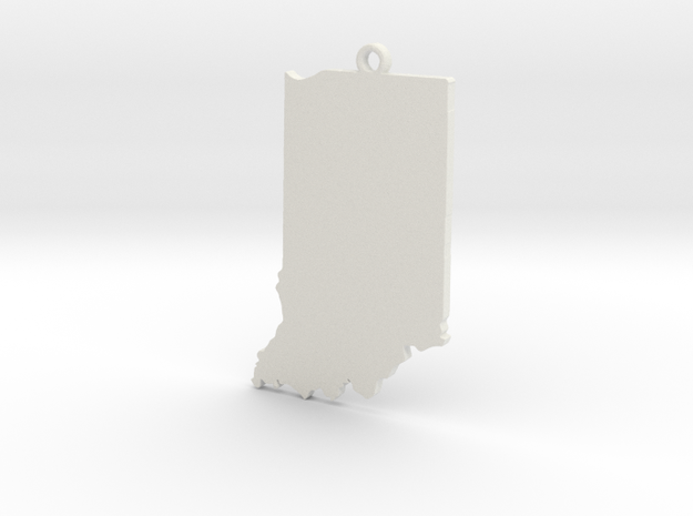 Indiana State Keychain in White Strong & Flexible