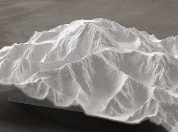 8'' Denali, Alaska, USA 3d printed Radiance rendering of the model, viewed from the South