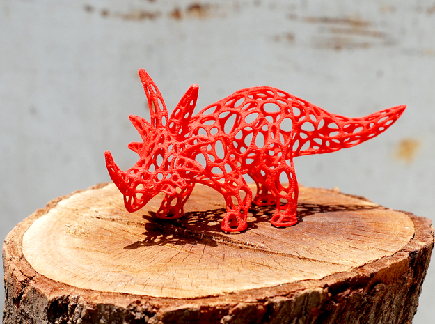 Styracosaurus Voronoi Wireframe in Red Processed Versatile Plastic