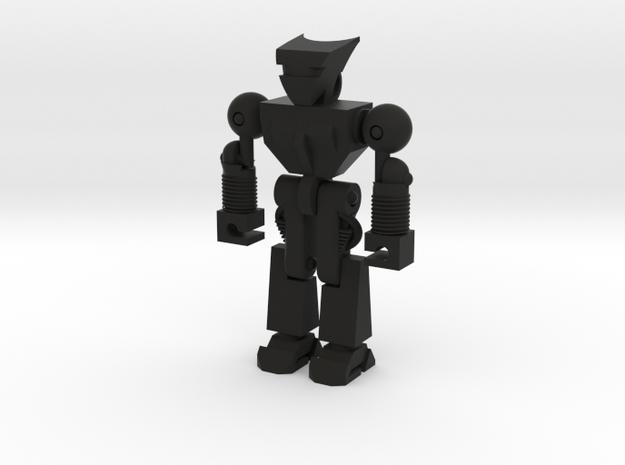 Robo Keychain in Black Natural Versatile Plastic