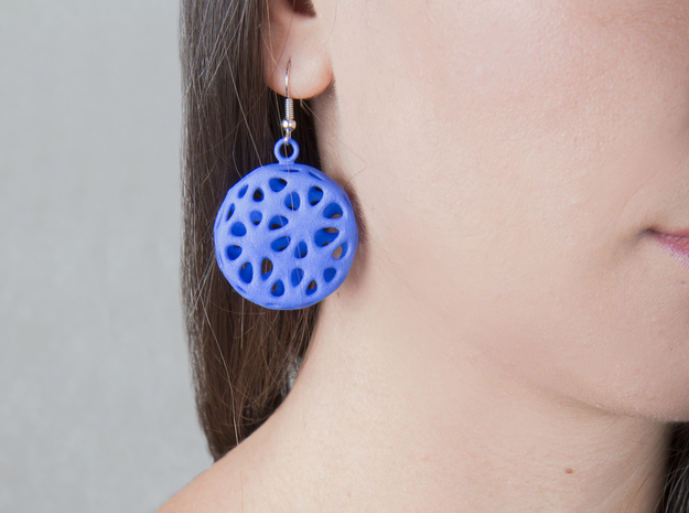 Flowers Earrings in Blue Processed Versatile Plastic