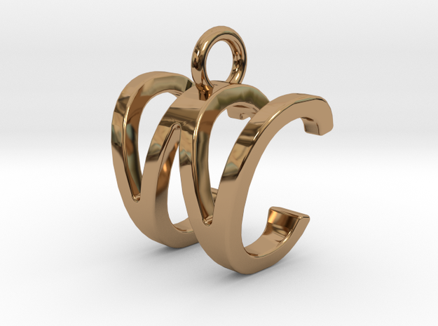 Two way letter pendant - CW WC in Polished Brass