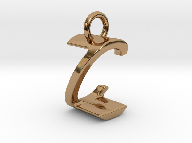 Two way letter pendant - CZ ZC in Polished Brass