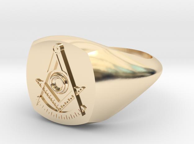 Masonic Past Master Ring W/ Diamond in 14K Yellow Gold