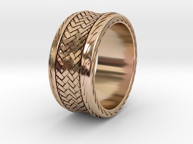 Herringbone RING SIZE 9.5 in 14k Rose Gold Plated Brass