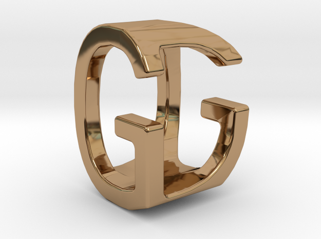 Two way letter pendant - DG GD in Polished Brass