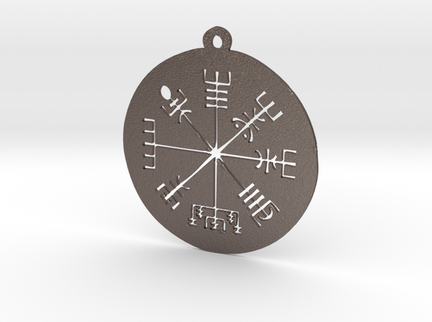 Vegvisir Medallion in Polished Bronzed Silver Steel