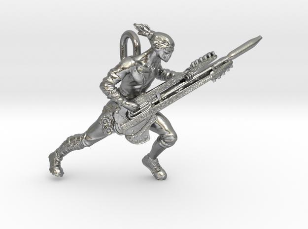 Coma Doof Warrior pendant in Raw Silver