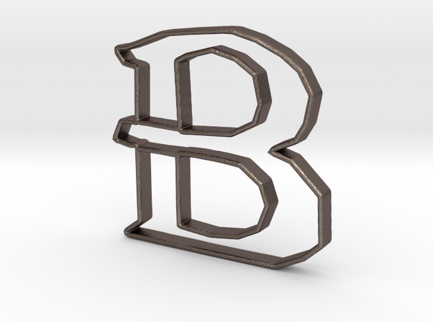 Typography Pendant B in Polished Bronzed Silver Steel