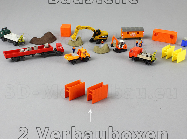 1/160 Spur N scale trench box Verbaubox set of 7 in White Strong & Flexible Polished