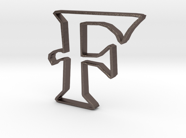 Typography Pendant F in Polished Bronzed Silver Steel