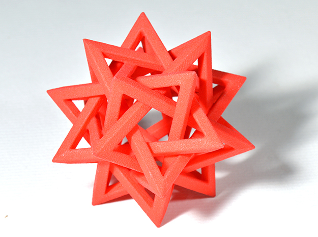 "Five Tetrahedra (2"") in Red Processed Versatile Plastic"