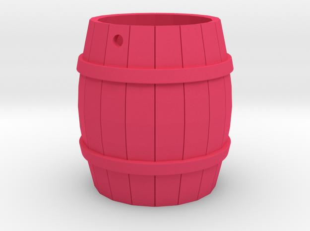 Wooden Barrel Keychain in Pink Processed Versatile Plastic