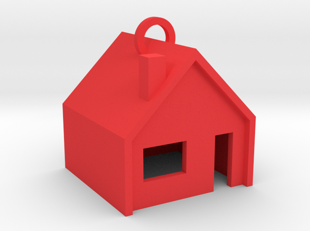 Customizable Keychain 'Little House' in Red Processed Versatile Plastic