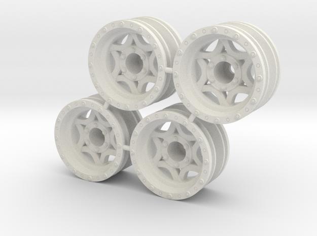 "Rim Walker Evans 1/4"" offset - Losi McRC/Trekker in White Natural Versatile Plastic"