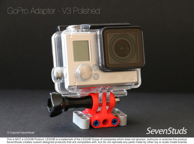 GoPro Mount for LEGO® Technic - Color in Red Processed Versatile Plastic