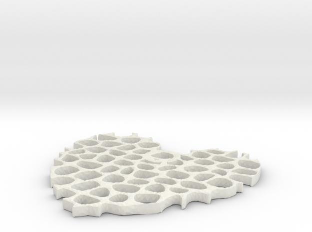 Coral Heart  in White Natural Versatile Plastic