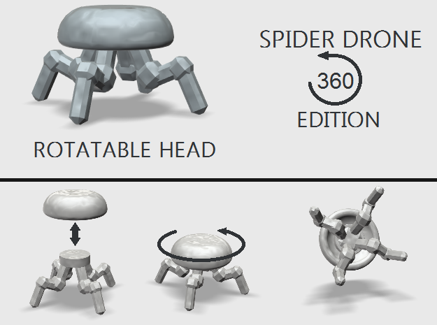 Spider Drone 360 Edition in White Strong & Flexible