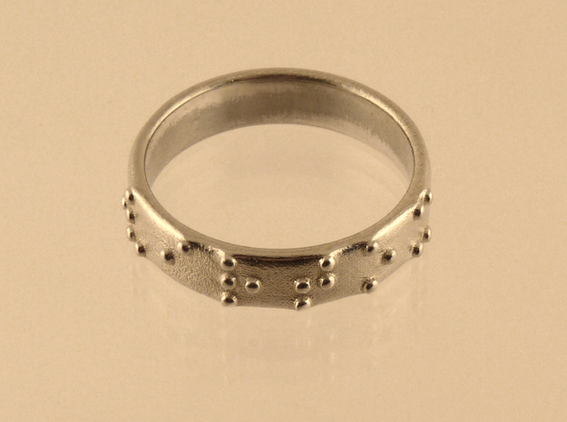 Braille ring 5mm 3d printed Polihed silver