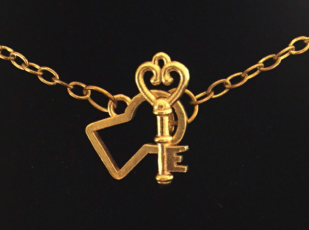 Lock and Key Toggle Clasp Charms in Natural Brass