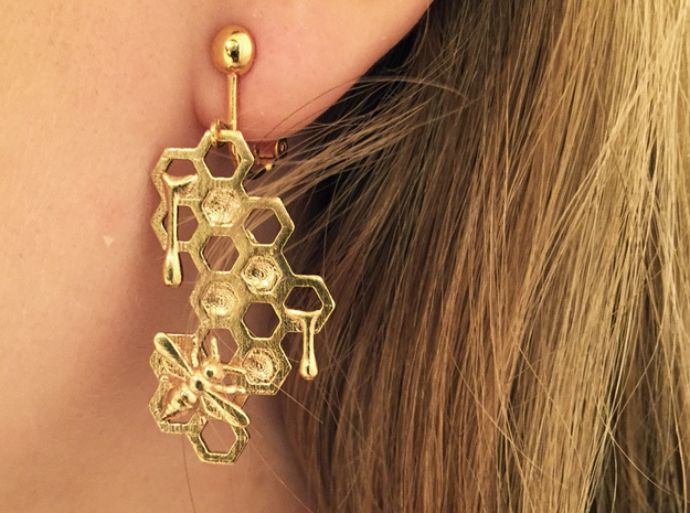 Honey Comb Earring Set in Raw Brass