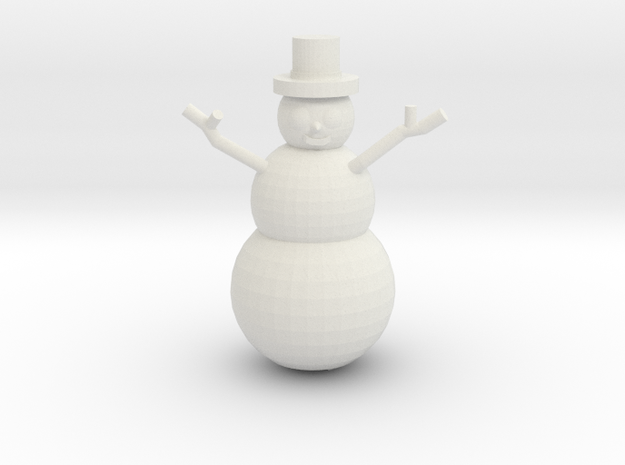 Snowman Miniature in White Natural Versatile Plastic