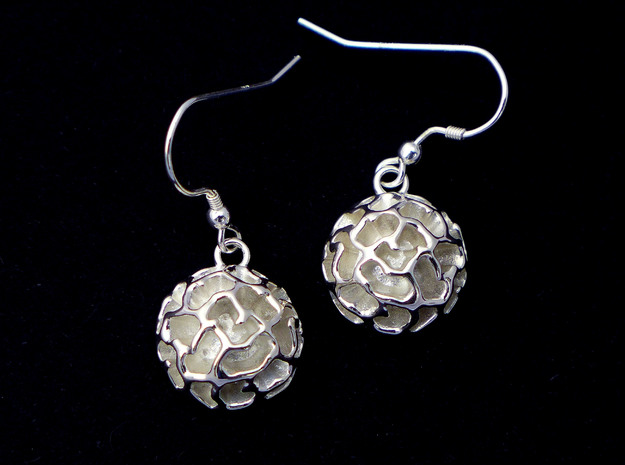 Fossil Acritarch Cymatiosphaera Earrings in Polished Silver