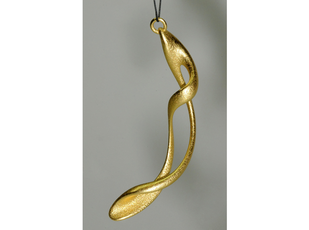 loop and multiple twisted earrings curved - 6cm lo in Polished Bronzed Silver Steel