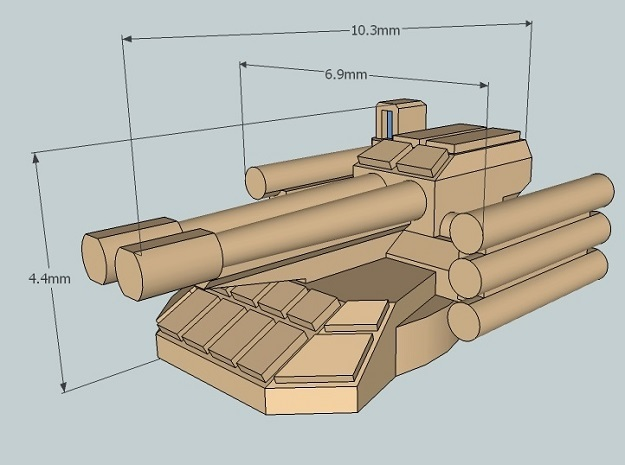 6mm Sci-Fi IFV Turret (BMPT-style) (12pcs) 3d printed