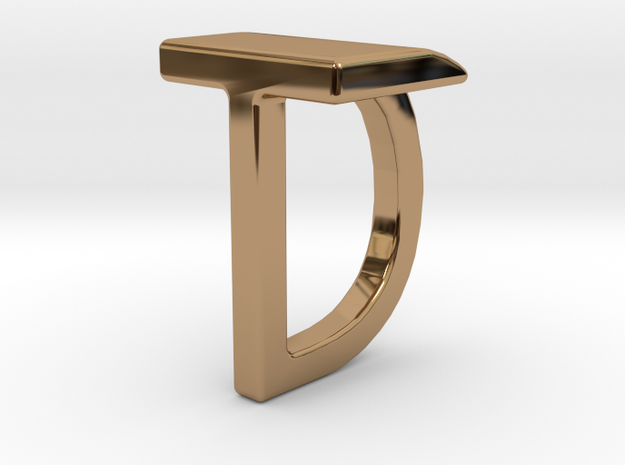 Two way letter pendant - DT TD in Polished Brass