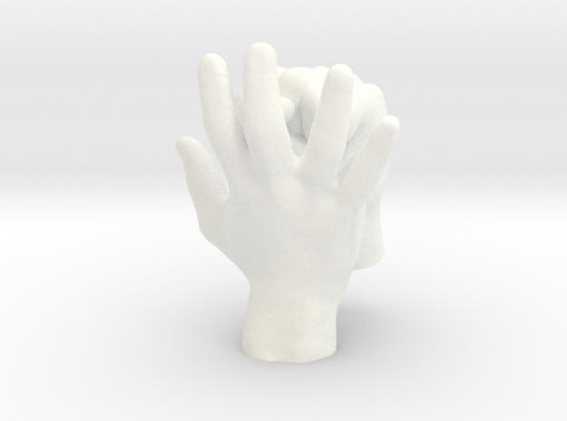Ring Holder   Hand & Fist in White Processed Versatile Plastic