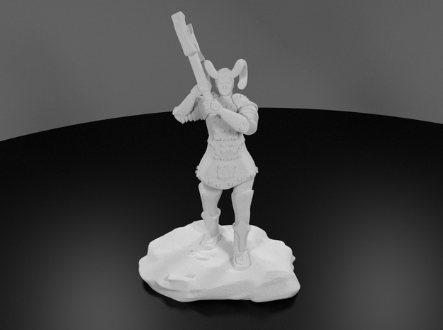 Tiefling Paladin Mini in Plate with Great Axe