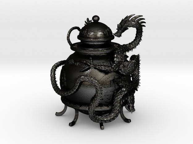 Prosperity Dragon Oil Lamp in Matte Black Steel
