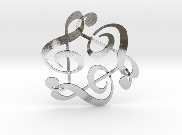 Triple G Clef in Polished Silver