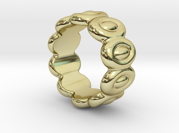 Elliptic Ring 20 - Italian Size 20 in 18k Gold Plated Brass
