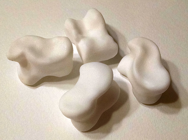 Knucklebone Dice Set in White Processed Versatile Plastic