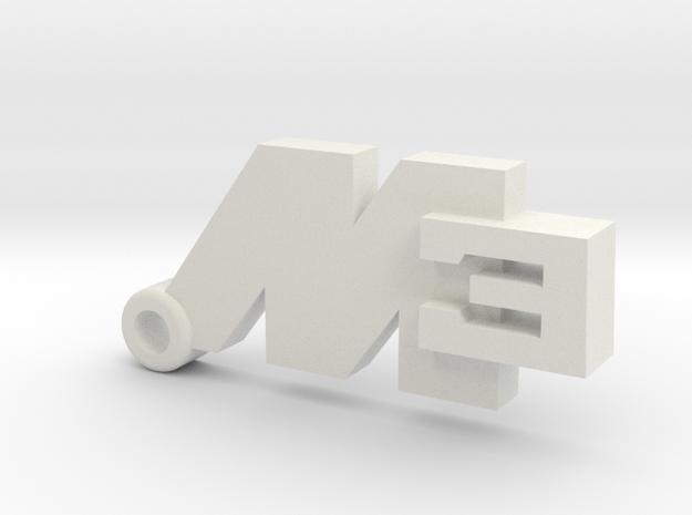 Key Ring M3 in White Natural Versatile Plastic