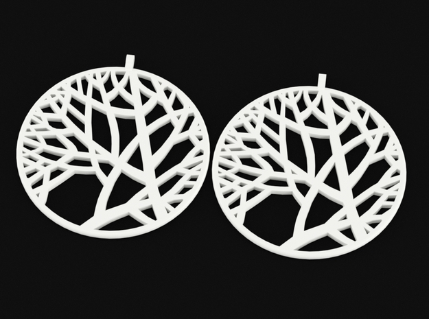 Circle of Tree Earrings in White Strong & Flexible Polished